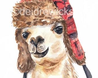 Llama Watercolor PRINT - 5x7 Illustration Print, Llama in a Hat, Canadiana, Nursery Art