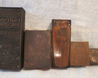 5 Wood & Copper Printing Blocks Stamps