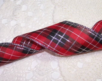 """3 Yards 2.5"""" Red & Black Plaid Wired Ribbon Classic Christmas Holiday Decor Bow BTY Holiday Wedding Gift Wrapping"""