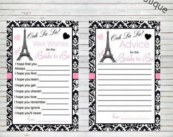 Paris Bridal Shower Instant Download Advice for the Bride to Be & Well Wishes for the Bride to Be Cards Eiffel Tower Parisian Theme BD60B