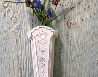 Distressed Chic and Shabby French Cottage Wall Pocket, Upcycled Homco Wall Vase, Country Cottage Decor
