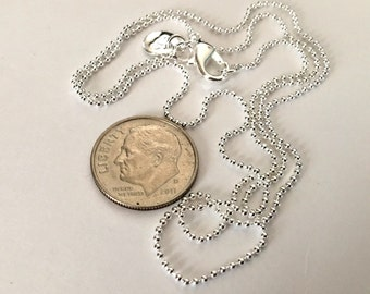 1 - Silver plated 18 inch 1 MM Ball Chains      FAST SHIPPING