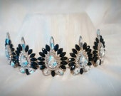 Tiara Crown Black Crystal Glass Antique Gold Plated Upcycled Statement Jewelry Fantasy Renaissance Reign LARP Elven Wedding Bridal