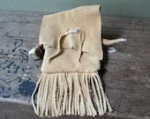 Buffalo Leather Fringe Pouch