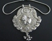 Antique Indian Amulet, Large Indian Amulet Pendant Necklace, Swami Ware Style Purushamriga, High Grade Silver Snake Chain,India,  118 grams