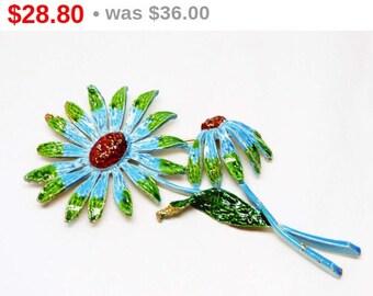 Vintage Flower Brooch - Designer Signed ART - Blue & Green Enamel Pin - 1960's Flower Power Style Jewelry
