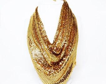 Metallic Gold Mesh Bib Necklace - Designer Signed Tag - Whiting & Davis Metallic Scarf Necklace - Gorgeous!