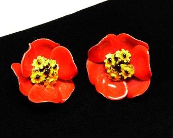 Red Poppy Earrings - Enamel Clip on - Flower Power Jewelry - 1960's Vintage Jewelry - Mod Flowers