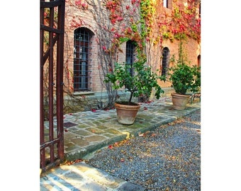 "Fine Art Color Travel Photography of Tuscany - ""Entrance to a Tuscan Winery"""