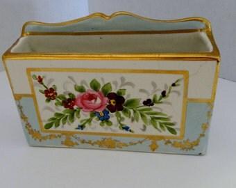 Antique Amoges Hand Painted Letter / Card Holder Blue Floral Gold Trim