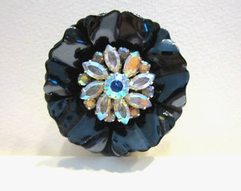 """Vintage Signed Selini Rhinestone Brooch Vintage Blue Enamel Rhinestone Flower Pin Layered Dimensional Large 2"""" Gift for Her Gift for Mom"""