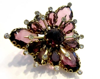 Vintage Purple Rhinestone Brooch Vintage Triangle Vintage Jewelry Gift for Her Gift for Mom Gift Ideas Vintage Jewelry