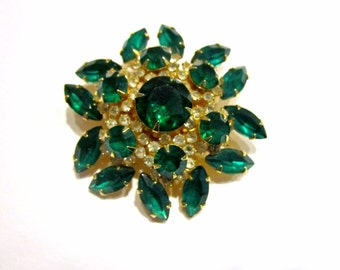 Green Rhinestone Brooch Pin Vintage Large 2 1/4""
