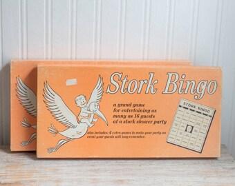 Stork Bingo, Vintage Bingo, Vintage Baby Shower, 1950s Game, Baby Shower Bingo, Mid Century, 50s Housewife, Retro Housewife, Peach, Kitsch
