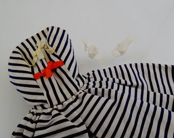 Cotton Casual Dress and Shoes Vintage Mod Barbie Doll Mattel Clothes Accessories Black White Navy Blue Striped Stripe