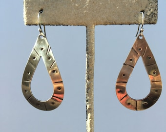 Sterling Tear Drop Earrings- hand forged sterling silver sheet is hand sawn, textured, slightly dommed and tumbled for added shine and stren