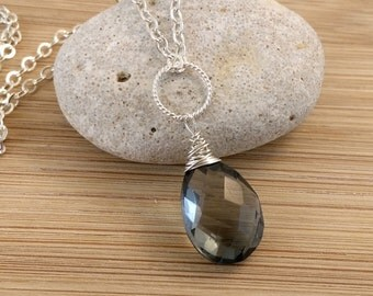 Blue Gemstone Necklace Light Blue Teardrop Sterling Silver Necklace Wire Wrapped Blue Quartz Pendant December Birthstone Jewelry