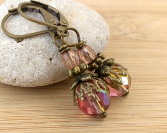 Peach and Pink Czech Glass Dangle Earrings. Picasso Earrings. Antique Brass. Bohemian Drop. Moroccan Mediterranean Earrings.