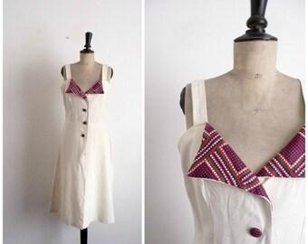 Vintage 70's Linen Dress Day Spring Summer Neckline Colorful / Size S