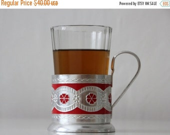 50% OFF Set of Vintage Russian drinking glass and tea glass holder or  Podstakannik from USSR