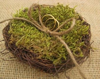 Rustic Mossy  Nest Ring Bearer Pillow Alternative