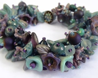 New Garden Bracelet Kit in Shades of Purple, Aqua and Dusty Blues with Purple Druzy Quartz