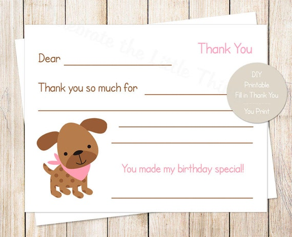 Printable Puppy Dog Thank You Cards Girls Fill In The Blank