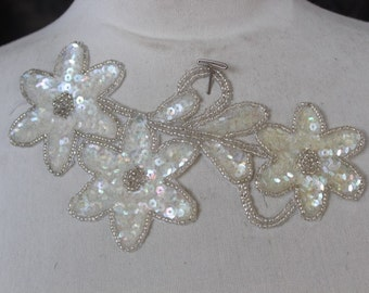 Cute embroidered  and beaded flower  applique with  sequins  1 pieces listing