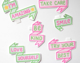 Positive Vibes 6 Sticker Pack Green Pink