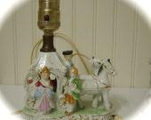 Vintage Porcelain Figural Lamp Base Japan Antique Lamp Horse and Carriage