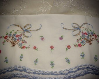 Vintage Cotton Pillowcase with Hand Embroidered Flower Baskets Vintage Bedding Linen