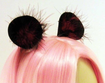 Round Ears with Fur | ANY COLOR | Bear Ears, Mouse Ears, Panda Ears, Lion Ears, Monkey Ears, Ferret Ears