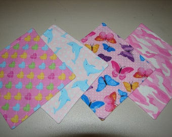 Infant/Toddler Wash Cloth Set, Wash Cloths, Spill Cloths, Diaper Bag Cloths