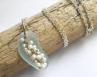 Pearl Cluster and Sea Glass Necklace, Pearl Necklace, Sea Glass Jewelry, Trendy Jewelry, Light Blue Sea Glass Jewelry, Genuine Sea Glass