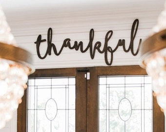 Large Thankful Word Wood Cut Wall Art Sign Decor