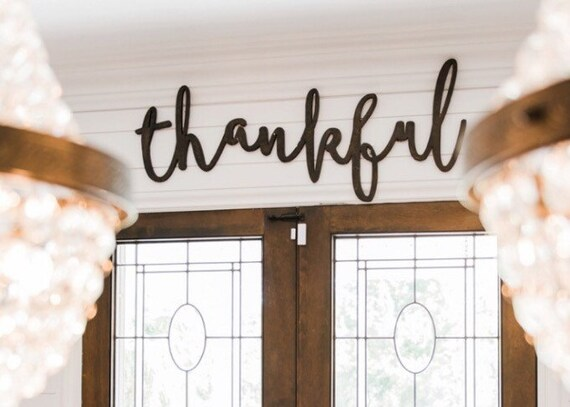 Thankful word wood cut wall art sign decor for Word wall art