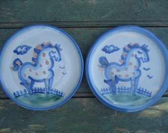 "2 Vintage M. A. Hadley 6"" Horse Plates"
