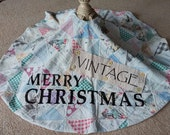 Christmas tree skirt from vintage quilt