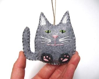 Cat Christmas Ornament, Grey Tabby Felt Cat Ornament, Cat Ornament, Tabby Cat Ornament