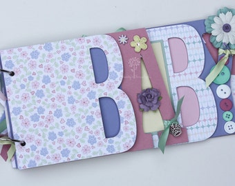 Baby girl scrapbook album, premade scrapbook, word chipboard album, baby shower gift, newborn, baby girl-BG38