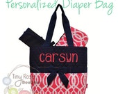 Personalized Diaper Bag -Coral Trellis Monogrammed Baby Tote, Changing Pad, Mommy Bag