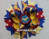 Wonder Woman Inspired Bow Super Hero Bottle Cap Bow Wonderwoman Bows Blue Stars Bow Girls Boutique Bow Baby Girls Hair Accessories