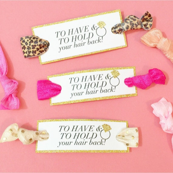 To Have and To Hold Short Tag Party Favor Hair Ties