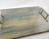 Customized Business Logo Stained Custom Wooden Serving Tray with handles, Coffee Tray, Wine Tray