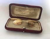 Edwardian rolled rose gold antique chain link oval cufflinks with chased floral engraving - signed RB