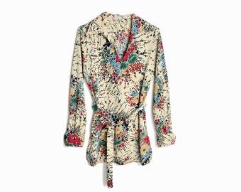 Vintage 70s Floral Bouquet Tunic with Belt / Floral Blouse  - women's small/medium
