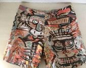 Vintage Quiksilver warpaint board shorts surf swimsuit 80s vintage 29 inch waist tribal print cotton shorts XS men women