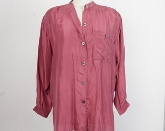 oversize silk blouse dusty rose pink 80s 90s vintage silky top with mandarin collar shoulder pads medium large