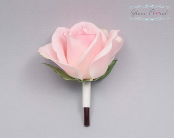 Blush Pink Rose Boutonniere . Real Touch Flowers. Caroline Rose Collection