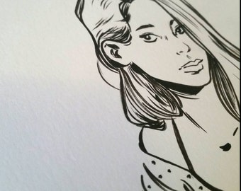 Original Black and White Pinup Ink Drawing